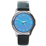 Textured Blue & Purple Abstract Round Leather Watch (Silver Rim)