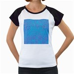 Textured Blue & Purple Abstract Women s Cap Sleeve T-Shirt (White)