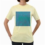 Textured Blue & Purple Abstract Women s T-shirt (Yellow)