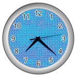 Textured Blue & Purple Abstract Wall Clock (Silver)
