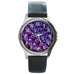 Blue purple Glass Round Leather Watch (Silver Rim)