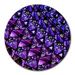 Blue purple Glass 8  Mouse Pad (Round)