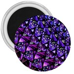 Blue purple Glass 3  Button Magnet