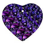 Blue purple Glass Heart Ornament