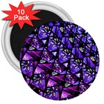 Blue purple Glass 3  Button Magnet (10 pack)