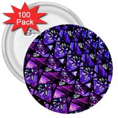 Blue Purple Glass 3  Button (100 Pack)