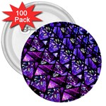Blue purple Glass 3  Button (100 pack)