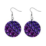 Blue purple Glass Mini Button Earrings