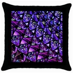 Blue purple Glass Black Throw Pillow Case