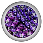 Blue purple Glass Wall Clock (Silver)