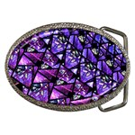 Blue purple Glass Belt Buckle (Oval)