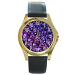 Blue purple Glass Round Leather Watch (Gold Rim)