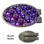 Blue purple Glass Money Clip (Oval)