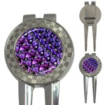 Blue purple Glass Golf Pitchfork & Ball Marker