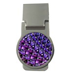 Blue purple Glass Money Clip (Round)