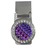 Blue purple Glass Money Clip (CZ)