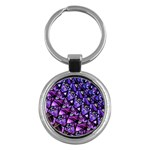Blue purple Glass Key Chain (Round)