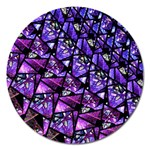 Blue purple Glass Magnet 5  (Round)