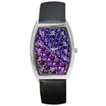 Blue purple Glass Tonneau Leather Watch
