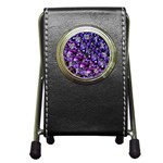 Blue purple Glass Stationery Holder Clock