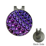 Blue purple Glass Hat Clip with Golf Ball Marker