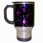Blue purple Glass Travel Mug (Silver Gray)