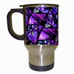 Blue purple Glass Travel Mug (White)