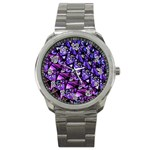 Blue purple Glass Sport Metal Watch