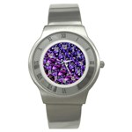 Blue purple Glass Stainless Steel Watch (Slim)