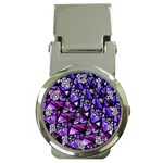 Blue purple Glass Money Clip with Watch