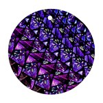 Blue purple Glass Round Ornament (Two Sides)
