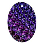 Blue purple Glass Oval Ornament (Two Sides)