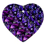Blue purple Glass Heart Ornament (Two Sides)