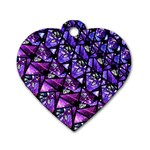 Blue purple Glass Dog Tag Heart (Two Sided)