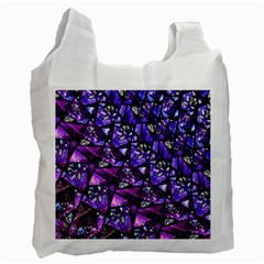 Blue Purple Glass White Reusable Bag (one Side) by KirstenStar