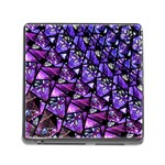 Blue purple Glass Memory Card Reader with Storage (Square)