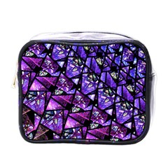 Blue Purple Glass Mini Travel Toiletry Bag (one Side) by KirstenStar
