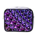 Blue purple Glass Mini Travel Toiletry Bag (One Side)