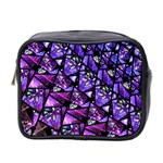 Blue purple Glass Mini Travel Toiletry Bag (Two Sides)