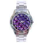 Blue purple Glass Stainless Steel Watch