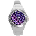 Blue purple Glass Plastic Sport Watch (Large)