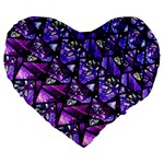 Blue purple Glass Large 19  Premium Heart Shape Cushion