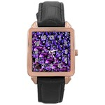 Blue purple Glass Rose Gold Leather Watch