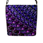 Blue purple Glass Flap Closure Messenger Bag (L)