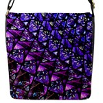 Blue purple Glass Flap Closure Messenger Bag (Small)