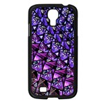 Blue purple Glass Samsung Galaxy S4 I9500/ I9505 Case (Black)