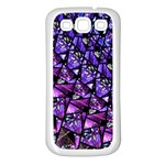 Blue purple Glass Samsung Galaxy S3 Back Case (White)