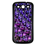 Blue purple Glass Samsung Galaxy S3 Back Case (Black)