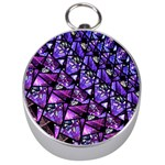 Blue purple Glass Silver Compass