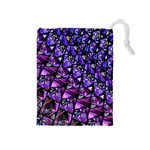 Blue purple Glass Drawstring Pouch (Medium)